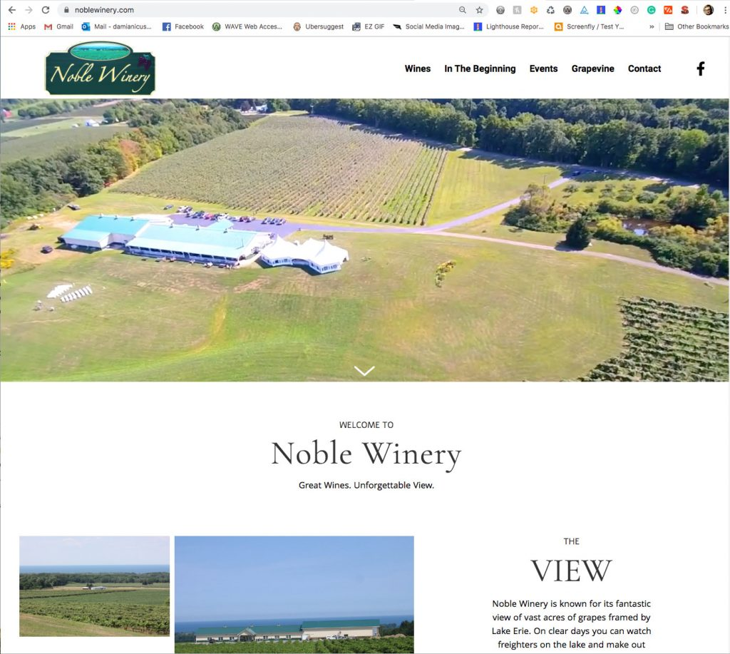 Saucer Advertising Noble Winery Website